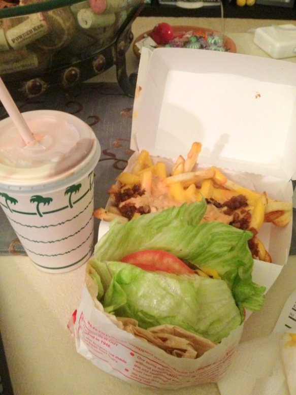Double double protein style, animal style fries and a Neapolitan shake. Order of champions.