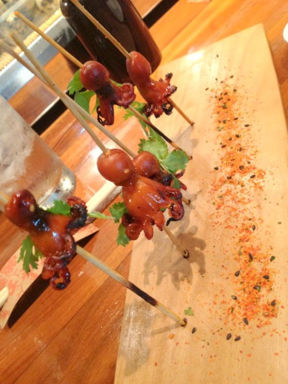 Tako pops (grilled baby octopus)